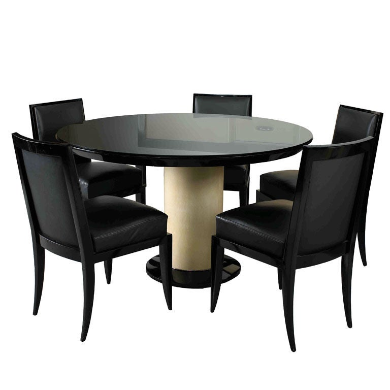 Jacques Adnet Art Deco Dining Table and 6 Chairs 1
