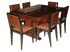 Louis Majorelle Deco Dining Table and 6 Chairs