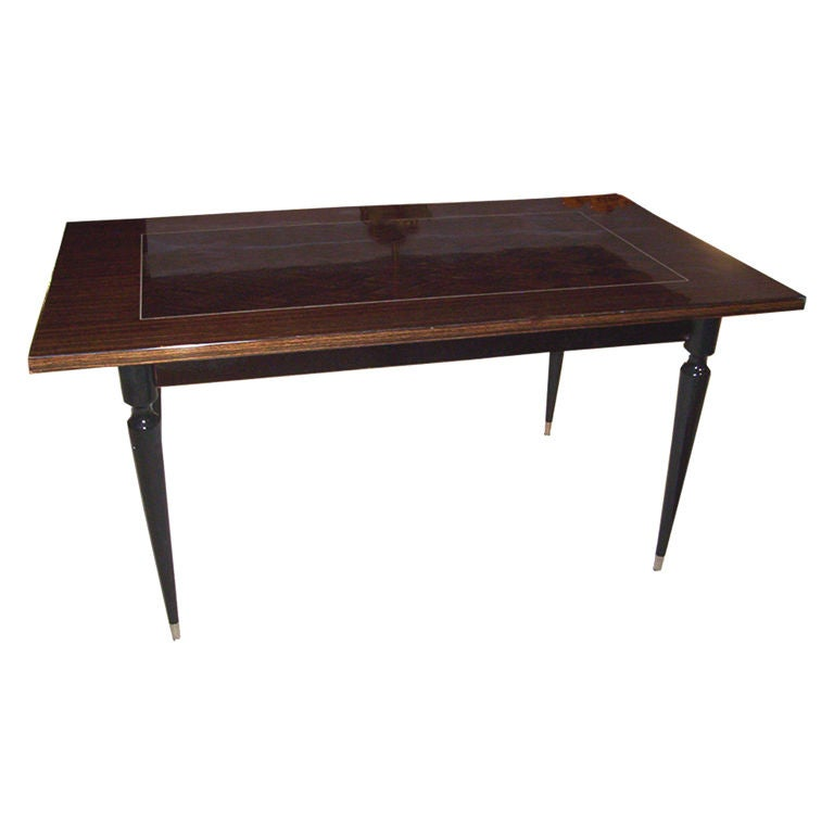 French art deco dining table or writing desk in macassar ebony for sale at 1stdibs - Art deco dining room table ...