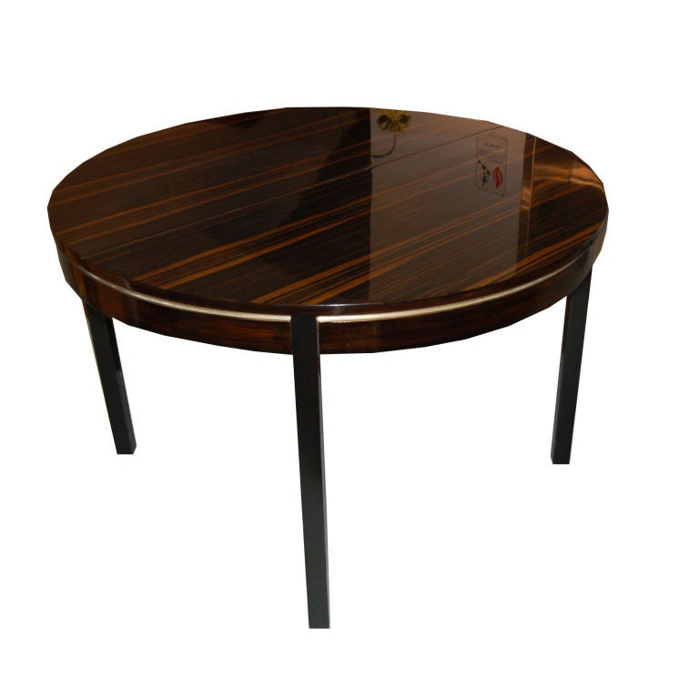 Round french art deco dining table at 1stdibs - Art deco dining room table ...