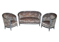 French Art Deco Loveseat and Club Chairs
