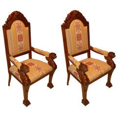 Two Neo Renaissance Arm Chairs