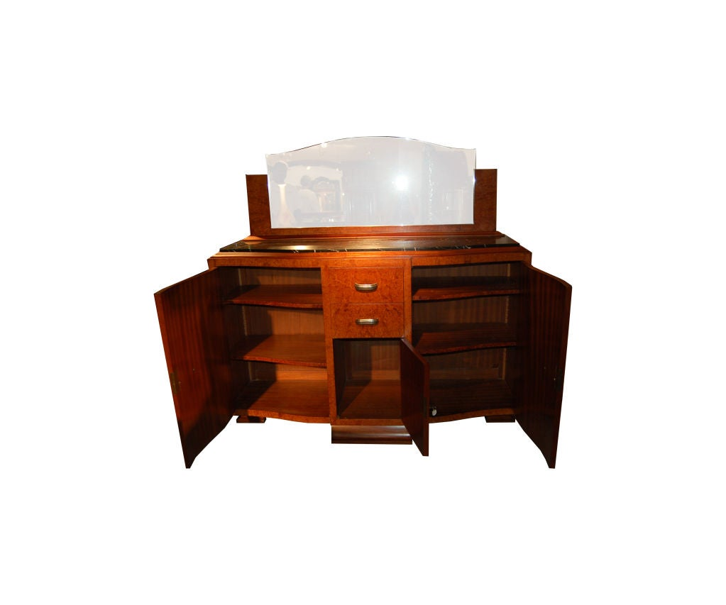 Art Deco server, 2 doors with 3 drawers in middle with black marble top, Poitier, France.