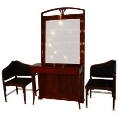Art Deco Mirror and Chair Set by J & J Kohn