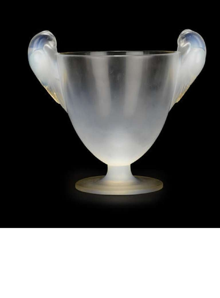 René Lalique molded opalescent glass two handled vase: Ornis Marcilhac 976, model introduced 1926 wheel-cut Lalique/France, inscribed N. 976.