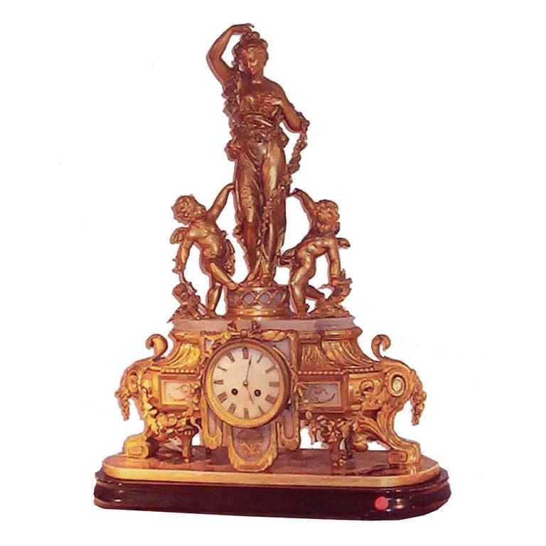 Louis XVI Style Mantel Clock For Sale