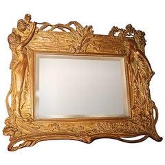 Art Nouveau Easel Back Table Mirror