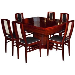 Early Art Deco Sezession Dining Table and Six Chairs