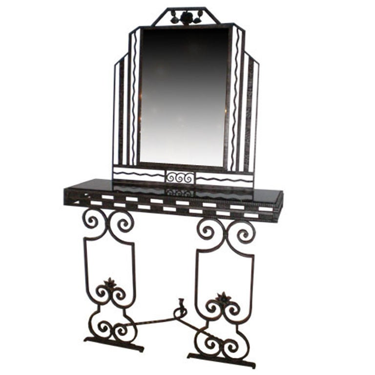 French Art Deco Mirror and Console