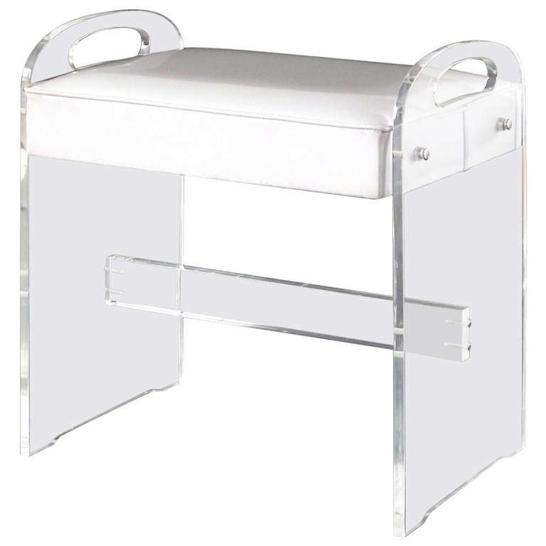 Lucite Vanity Stool / Bench With Upholstered Seat 1