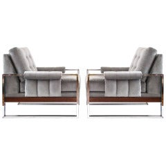 Pair of 1970s Lounge Chairs in Chrome with Wood Accents