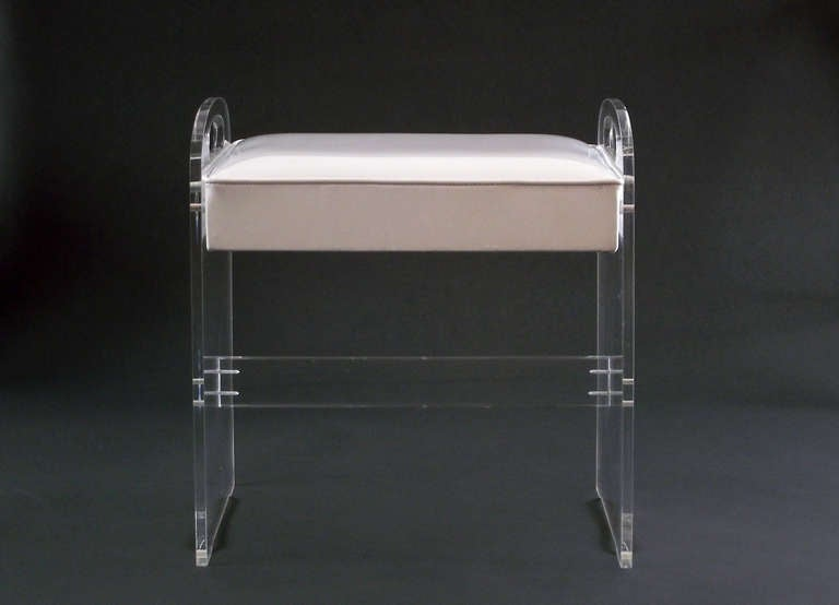 acrylic vanity bench | Lucite Vanity Stool / Bench with Upholstered Seat at 1stdibs