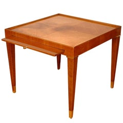 Lacquered Mahogany End Table with Pull-Out Tray