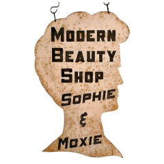 """Sophie and Moxie's """"Modern Beauty Shop"""" Steel Sign, circa 1940"""