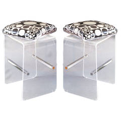 Pair of Charles Hollis Jones Waterfall Bar Stools in Lucite with Swiveling Seats