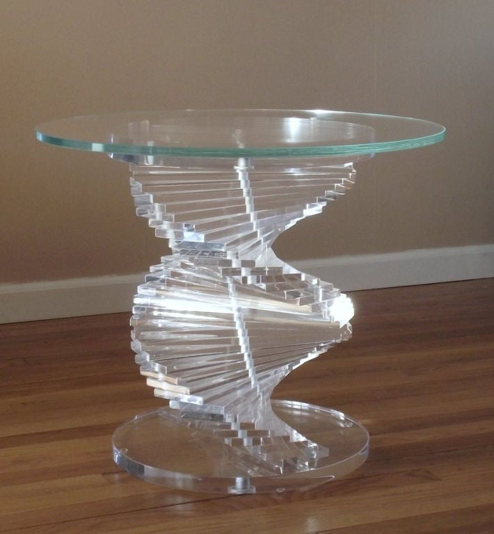 Occasional table w adjustable stacked lucite base and for Glass top occasional tables