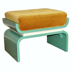 1930s Donald Deskey Art Moderne Lacquered Wood Bench / Footstool