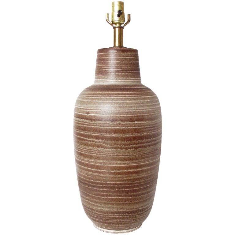 Design Technics Ceramic Brown and White Striped Glaze Table Lamp