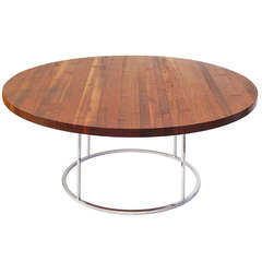 1960s Floating 'Butcher Block' Cocktail / Side Table by Milo Baughman