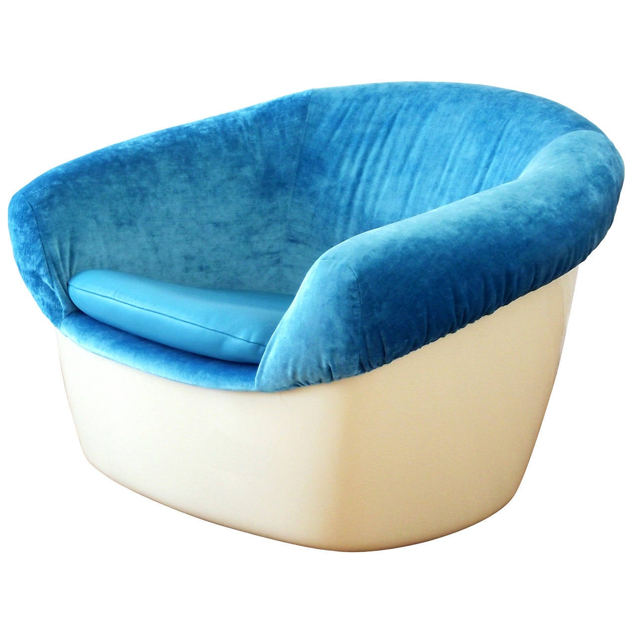 Unique Space Age Lounge Chair in Fiberglass, Blue Velvet and Leather