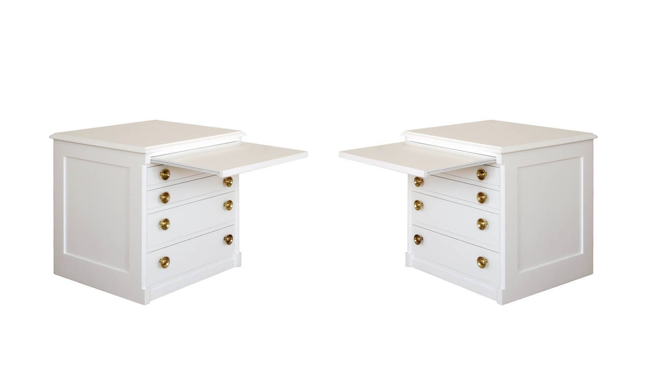 Pair of 1950s modern white lacquered end tables or for Modern nightstands for sale