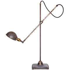 Unusual Industrial Lamp by O.C. White with Decorative Base