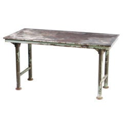 Outstanding & Historical Industrial Steel Table c. 1925 (Signed)