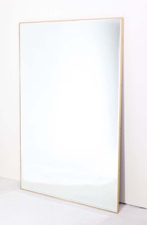 1950s beveled edge mirror in thin brass frame at 1stdibs for Skinny wall mirror