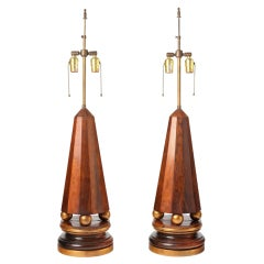 Pair of 1940s Obelisk-Form Lamps in Rosewood