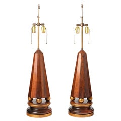Pair of Obelisk-Form Lamps in Rosewood, 1940s