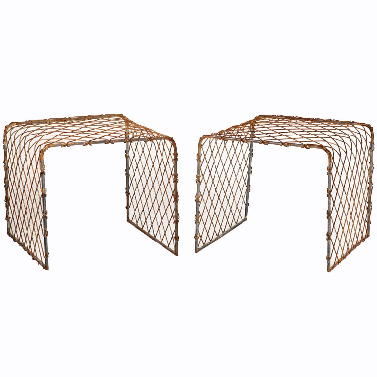 Pair Of Industrial Mesh Steel End Tables For Sale At 1stdibs