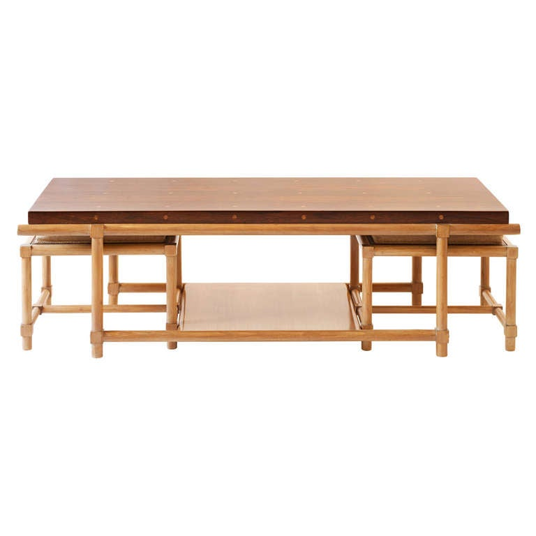 Rare Tommi Parzinger Cocktail Table With Pull Out Stools And Side Tables At 1stdibs