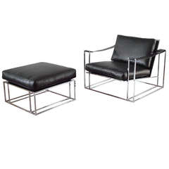 Milo Baughman Floating Lounge Chair and Ottoman in Chrome, 1972