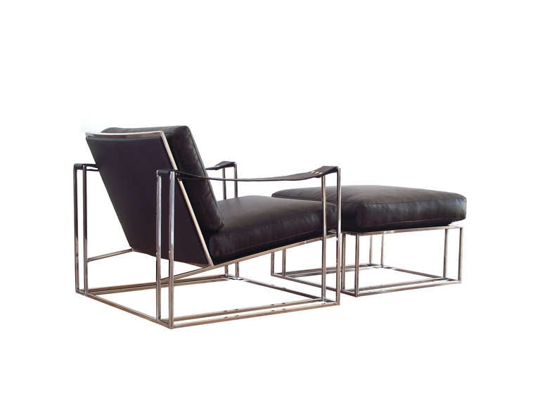 Milo Baughman Floating Lounge Chair and Ottoman in Chrome 1972 For Sale at 1