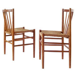 Pair of Danish Modern Oak Chairs with Woven Seats by Jørgen Baekmark