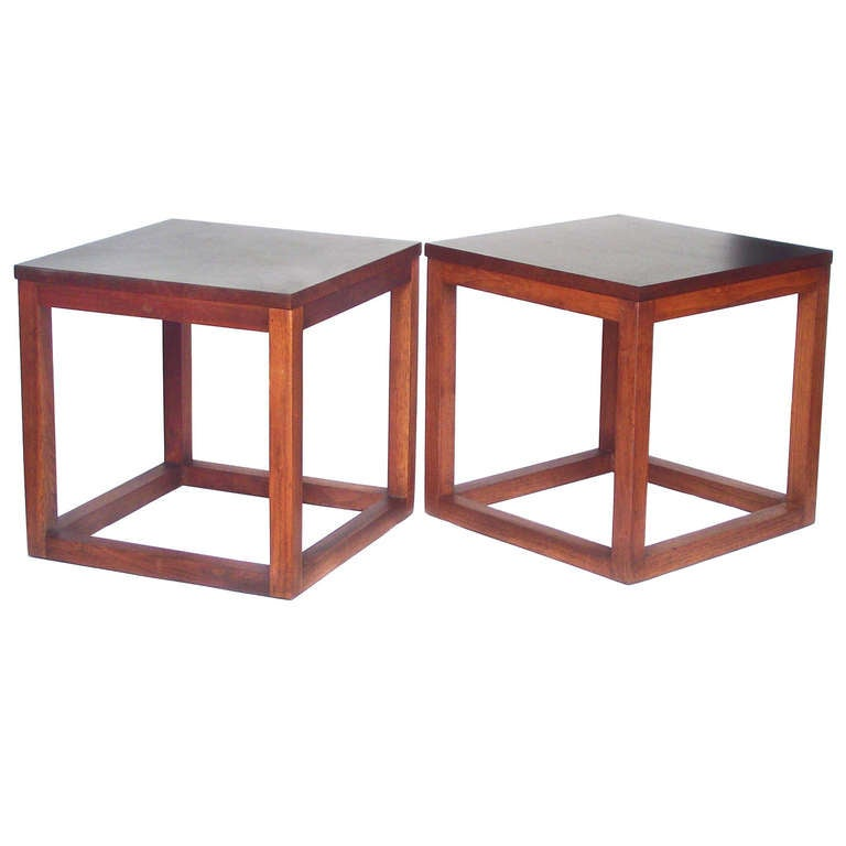 Pair of 1960s Open Cube Side Tables in Teak
