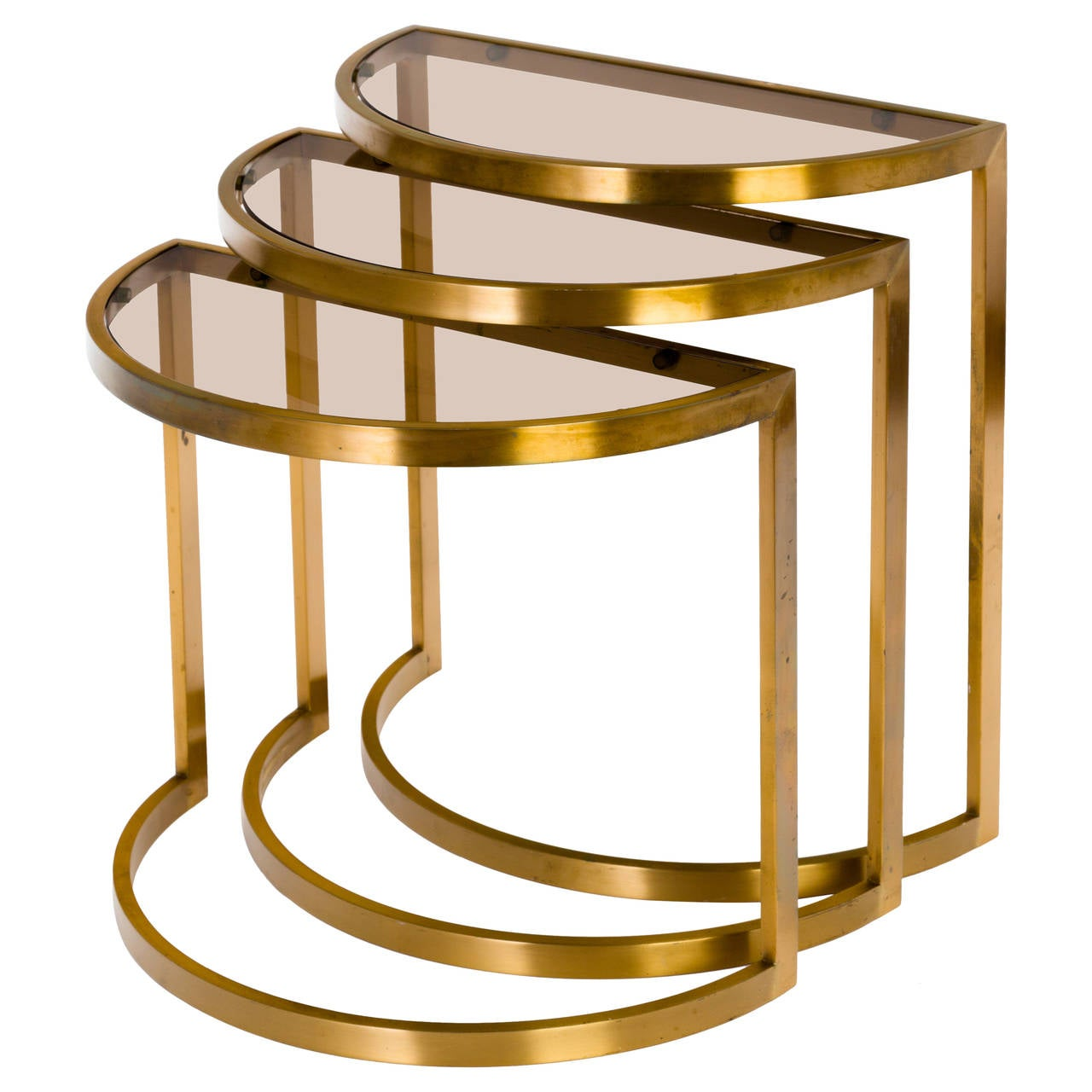 Set of three s modern nesting tables in brass and