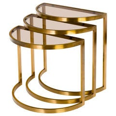 Set of Three 1960s Modern Nesting Tables in Brass and Glass