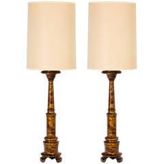 Tall Pair of Wood Baluster Form Lamps with Oil Drip Lacquered Finish, 1950s