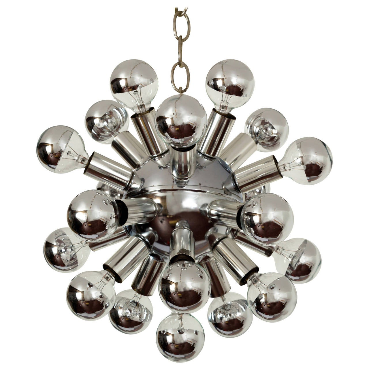 Small Sputnik Chandelier Light Fixture in Polished Chrome, 1960s