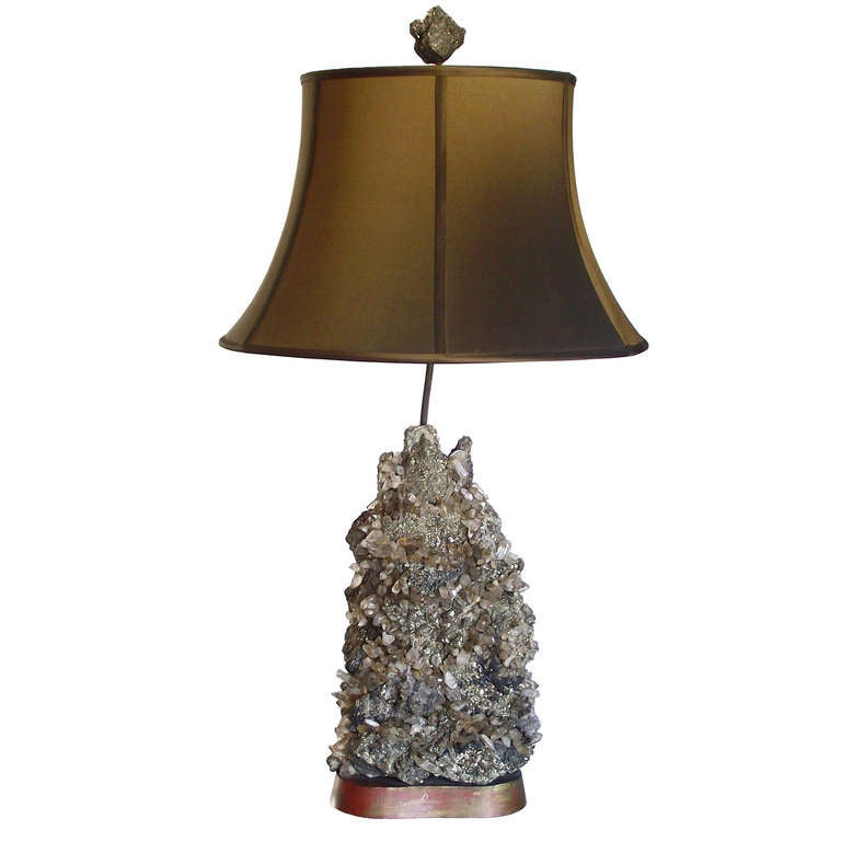 Rare pyrite and quartz rock crystal table lamp by carole for Rock lamp
