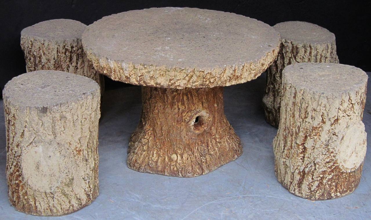 Faux Bois Garden Stone Set, Table and Four Stools For Sale 3