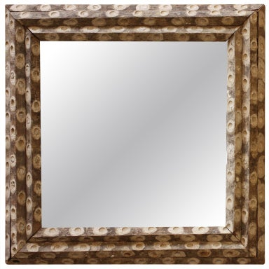 Large square oyster stick mirror at 1stdibs for Large square mirror