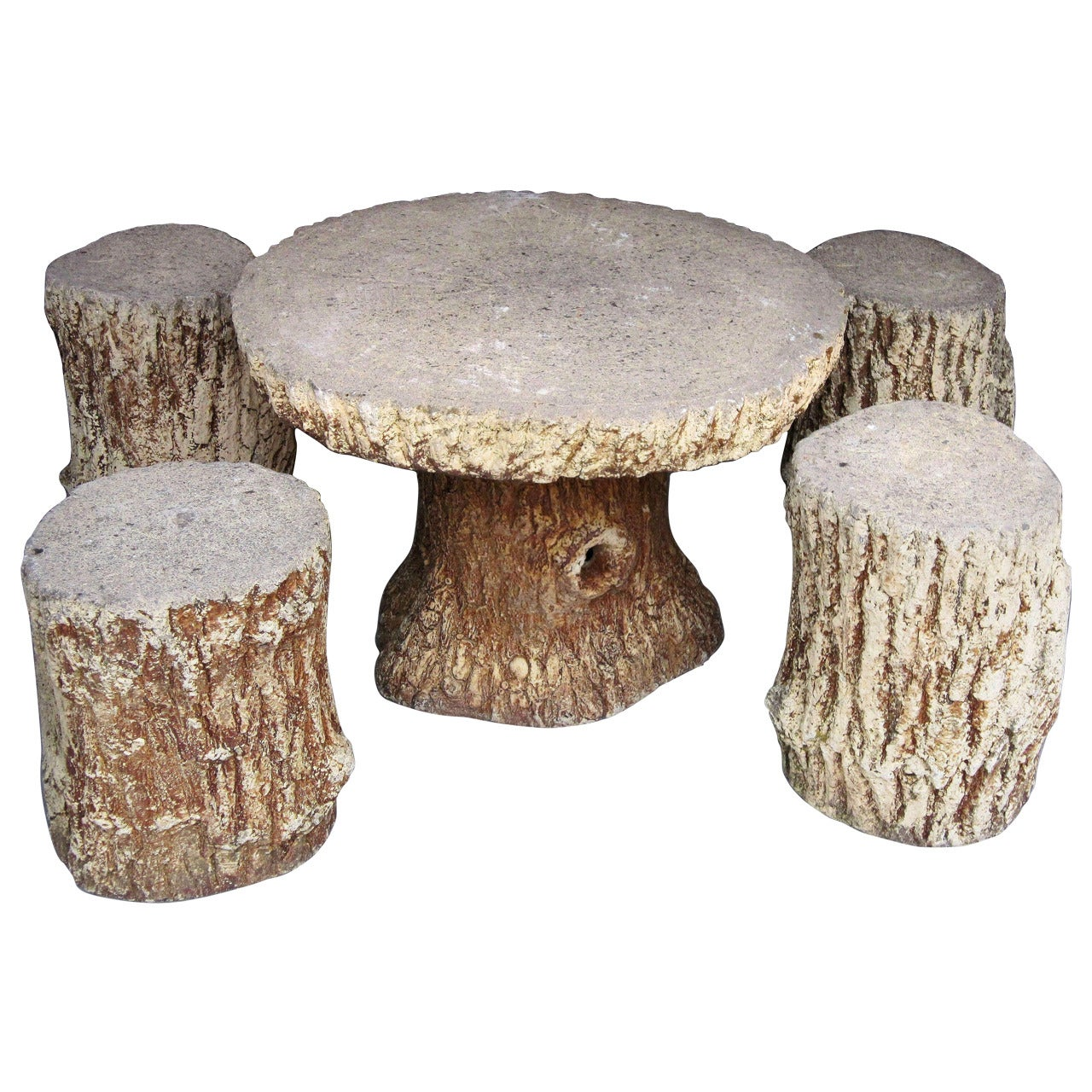 Faux Bois Garden Stone Set, Table And Four Stools