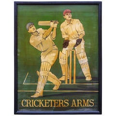 "English Pub Sign ""Cricketers Arms"""