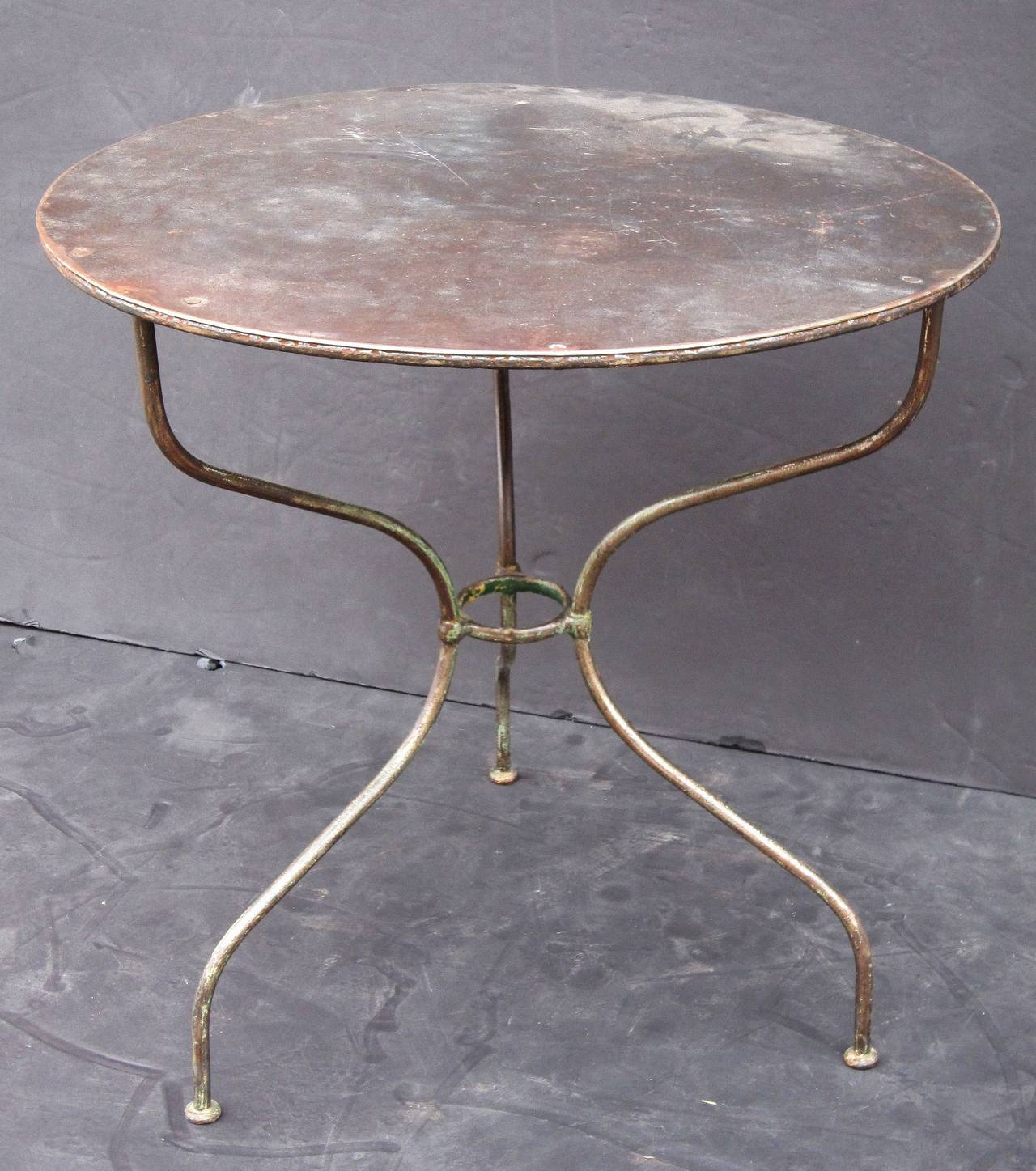 A Fine French Café Or Bistro Table Featuring A Round Zinc Top With A Lovely  Patina