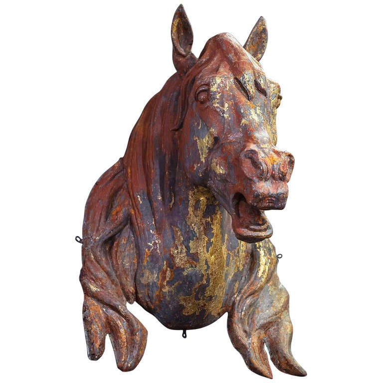 Large French Horse Head or Bust of Zinc