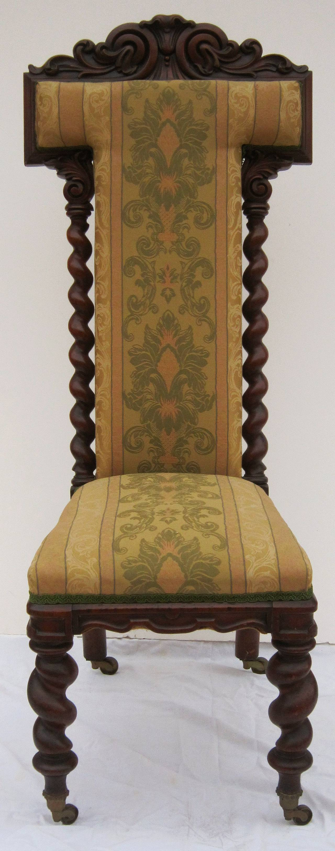A handsome English prayer chair (or prie-dieu chair) of carved walnut  featuring - English Prayer Chair Of Carved Walnut For Sale At 1stdibs
