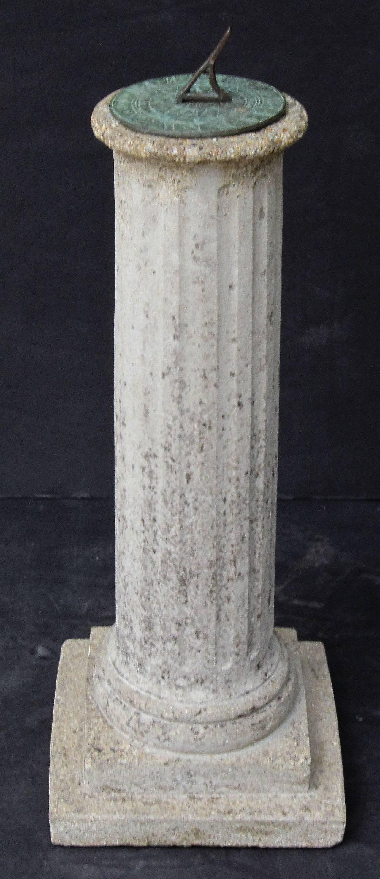 English Garden Column Sun Dial For Sale 1