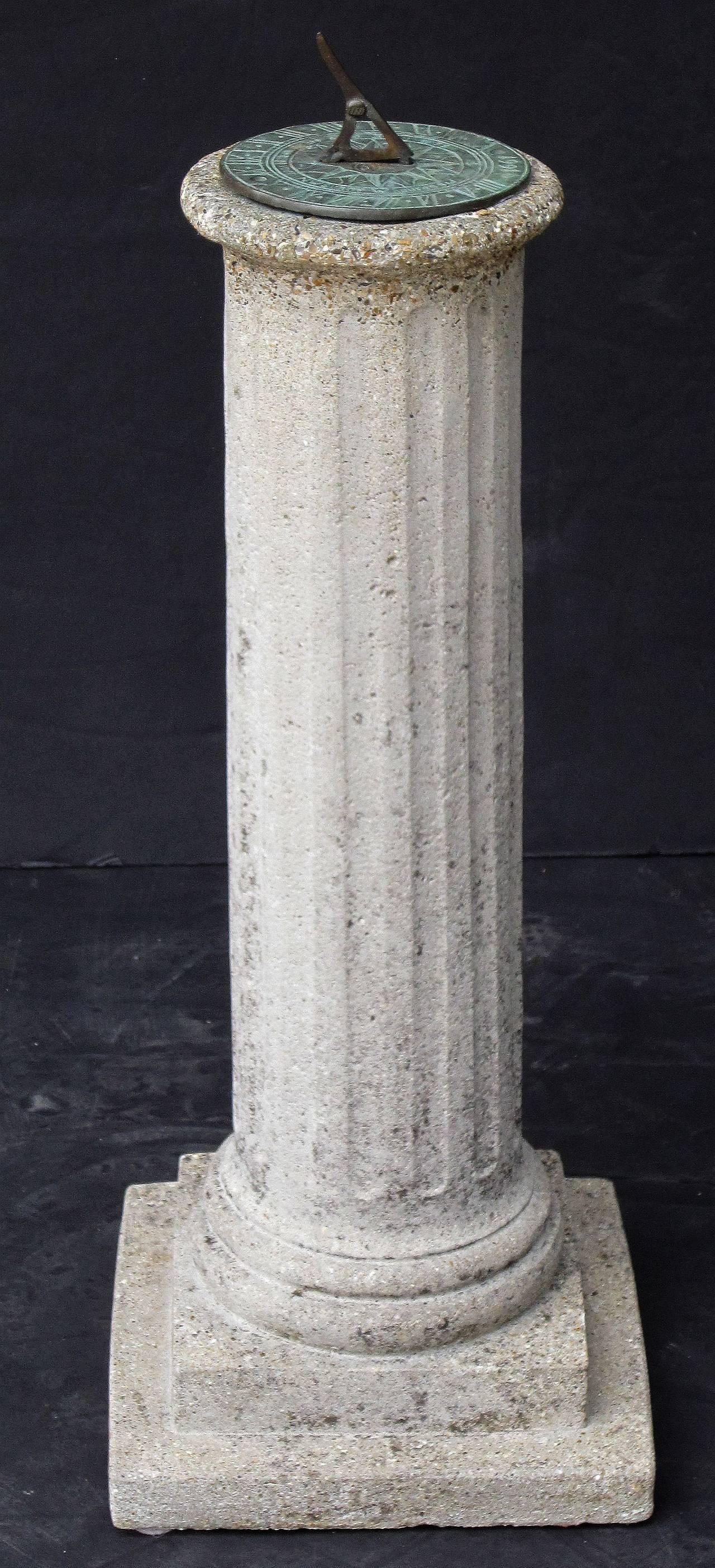 Bronze English Garden Column Sun Dial For Sale